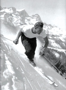 Dave McCoy skiing 'old style.