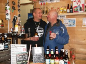 FACE TO FACE: Former snowboarding champ Brice Le Guennec (left) can serve you up some great drinks at the Galibier brewery